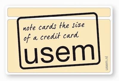 usem-kaartjes - notitiekaartjes van credit card formaat