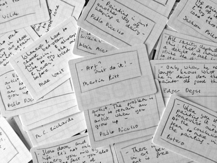 handgeschreven citatenkaartjes