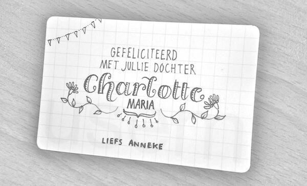handgeschreven felicitatiekaartje