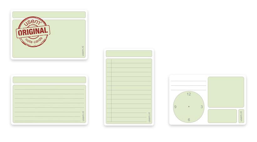 De nieuwe groene usem-notitiekaartjes