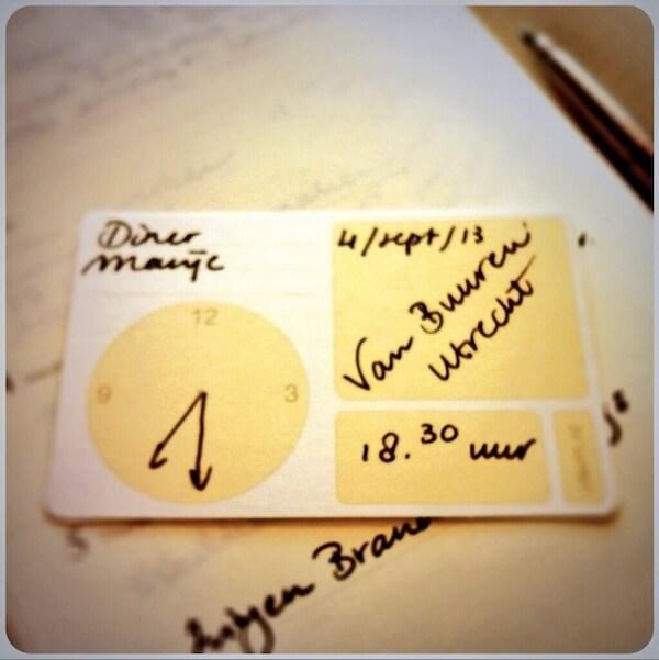 handgeschreven afsprakenkaartje