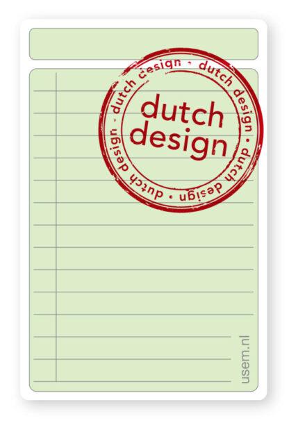 Dutch design usem note card Portrait green