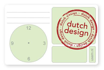 Dutch design usem note card Time green