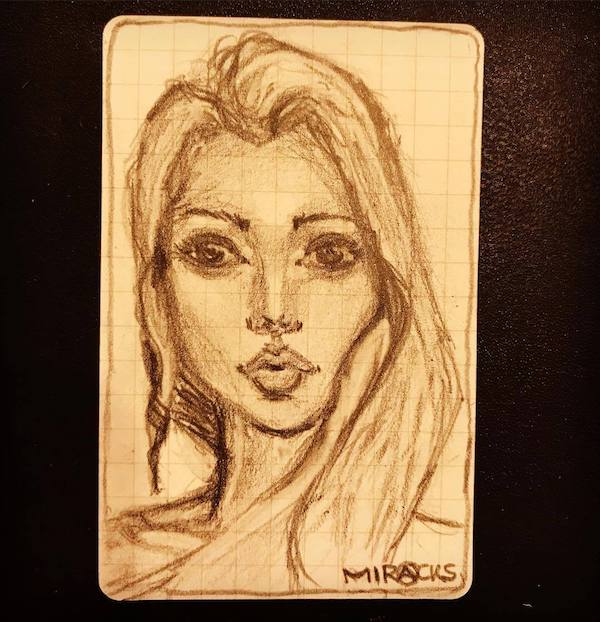 Drawing of a beautiful girl on a usem note card