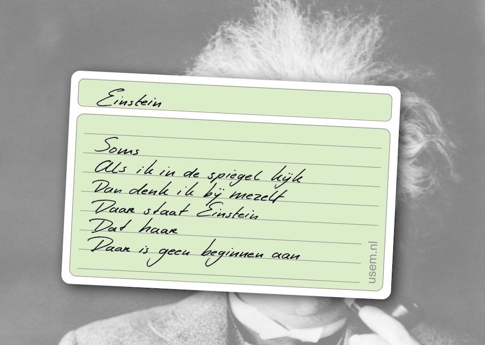 Gedicht Einstein op een kaartje