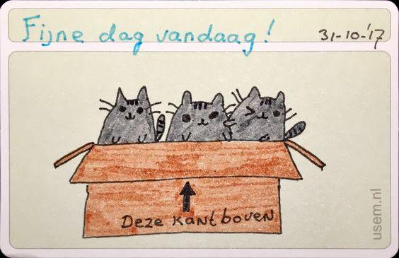 kattentekening op een usem-notitiekaartje