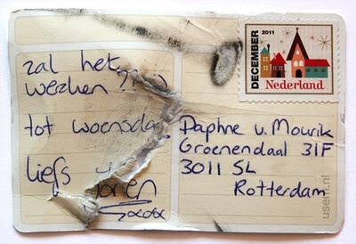 usem-kaartje als een klein briefkaartje van Jorien aan Daphne van Mourik