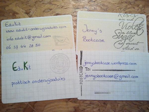 Handgeschreven visitekaartje van Jenny