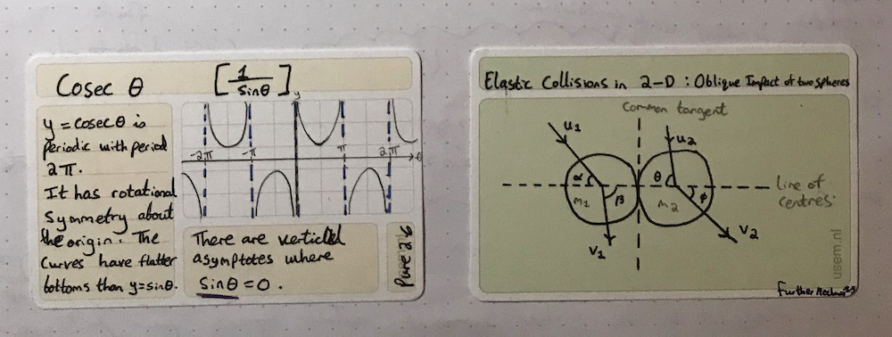 Mathematics revision on a usem note card