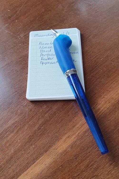 to do lijst voor maandag met blauwe pen