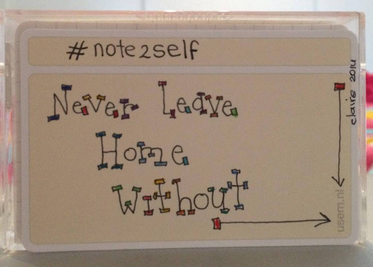 handwritten note to self on a usem note card