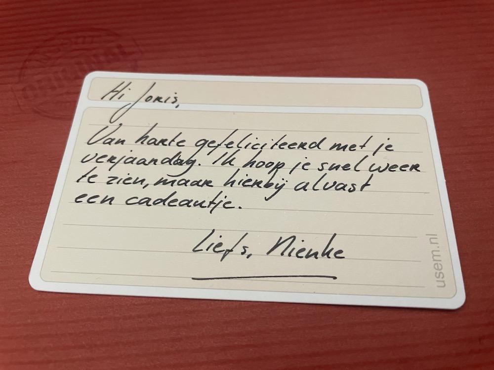 berichtje bij origineel brievenbuscadeautje