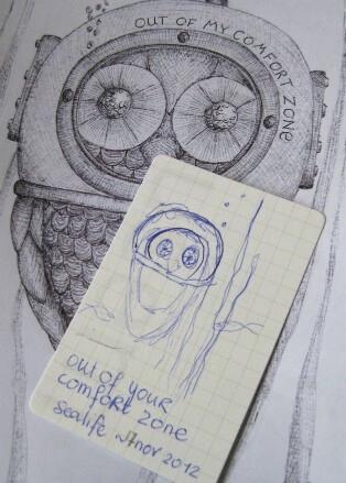 schets van een uil op klein kaartje