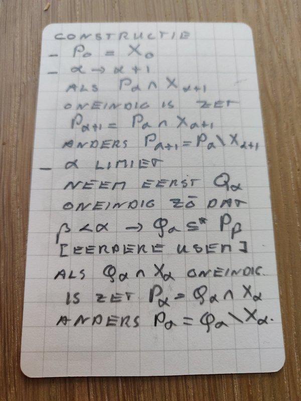 Wiskundig bewijs van P-punten op een usem-notitiekaartje - vervolg