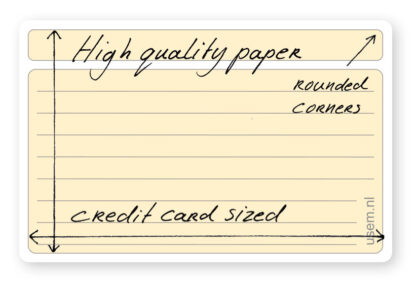 Small ruled rounded corner note cards - high quality paper