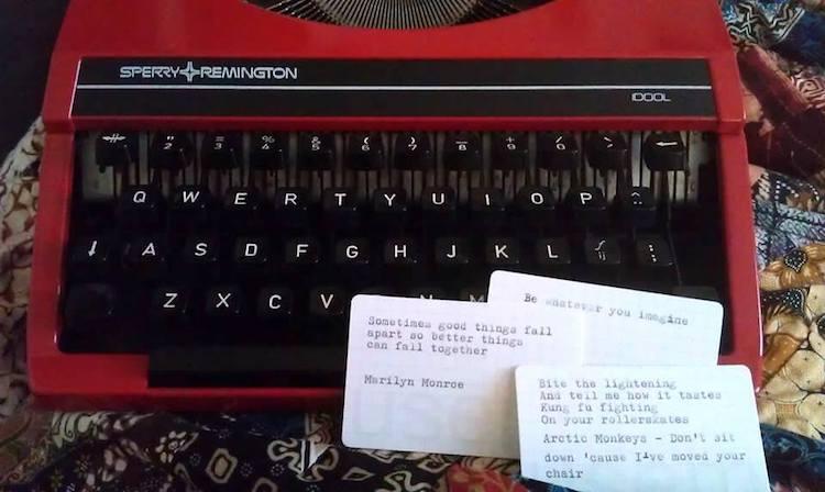 op een Sperry Remington getypte usem-kaartjes