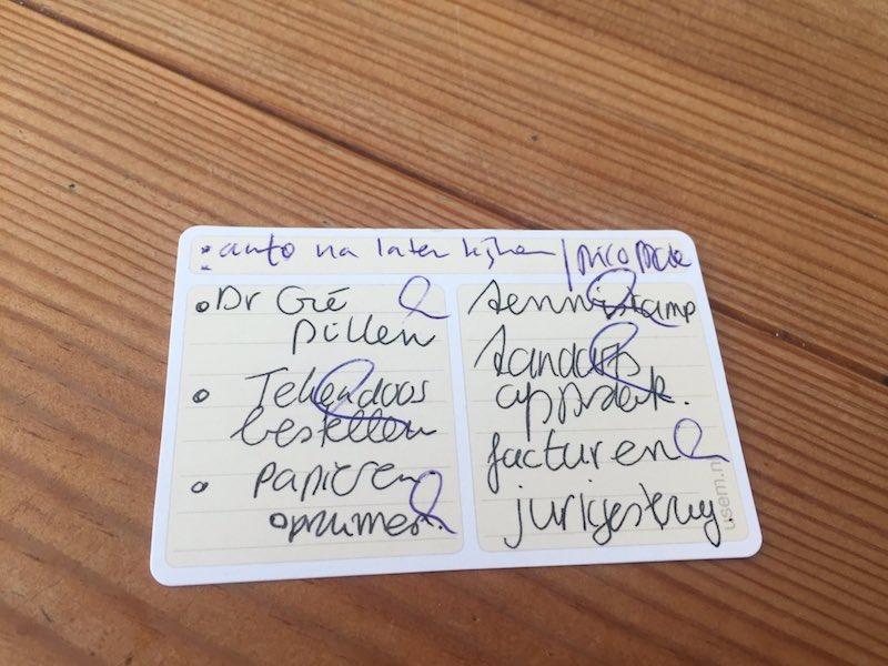 Kaartjes om to do lijstjes op te schrijven