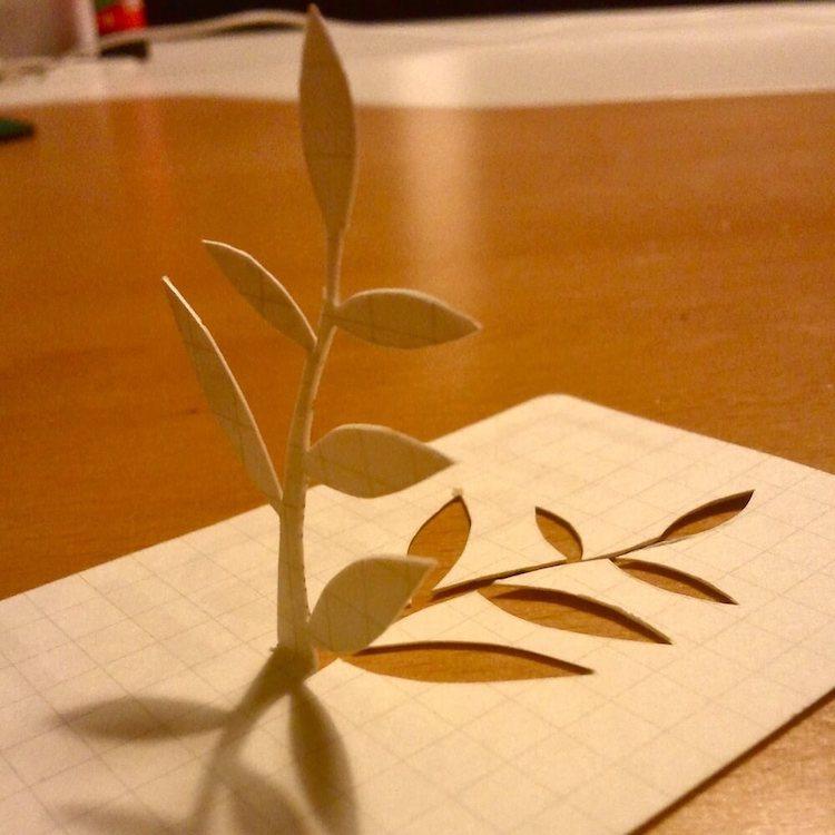 bloem uit usem-kaartje gesneden