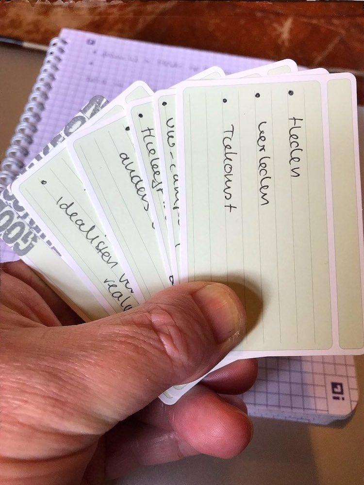 Voorbereidingen interview op usem-kaartjes (Theo Dersjant)