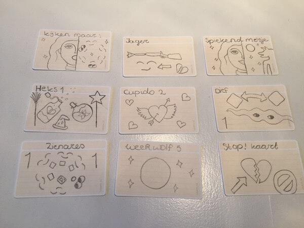 Zelfgemaakte spelkaartjes - Weerwolven