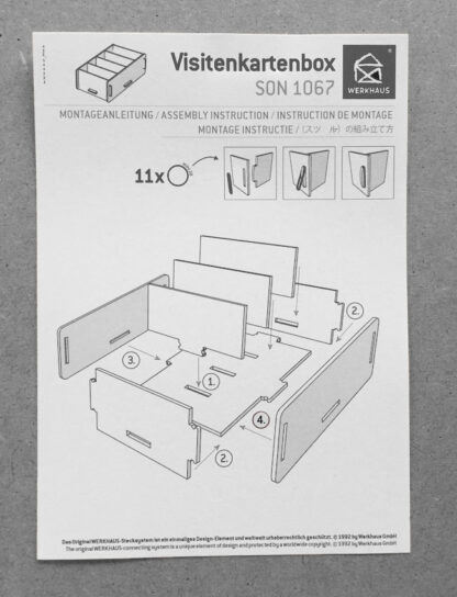 assembly instruction note and business card box Werkhaus