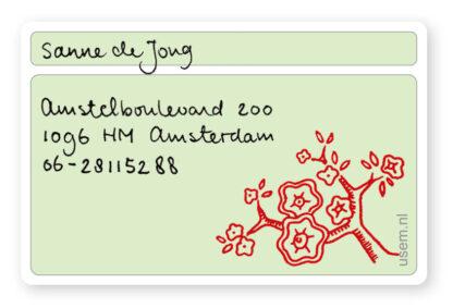 handgeschreven visitekaartje van Sanne de Jong