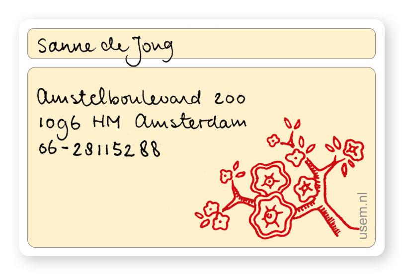 Handgeschreven visitekaartje Sanne de Jong