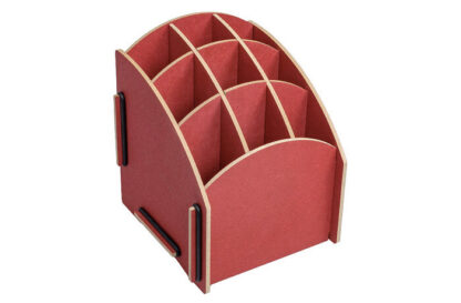 rood duurzaam houten pennenbakje van werkhaus