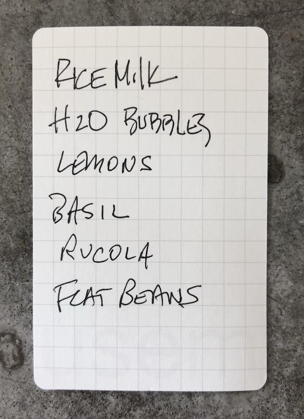 Handwritten notes David Allen (GTD) on a usem note card