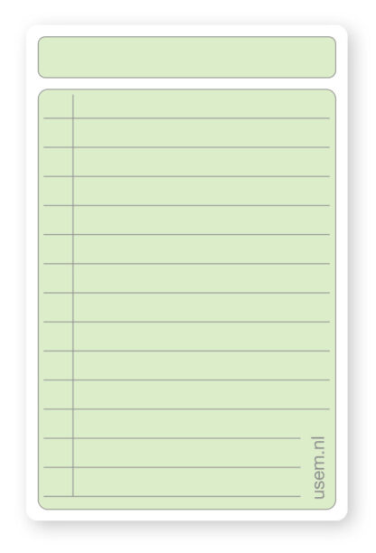 vertical rounded corner note cards with lines