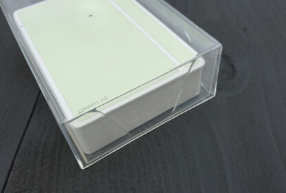 Green blank note cards in transparent card box