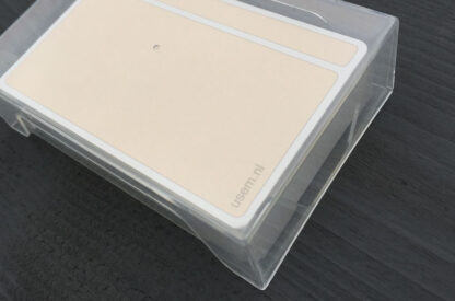 Blank note cards in transparent card box