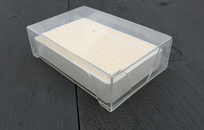 Ruled note cards in transparent card box